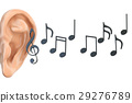 ear and music notes, 3D rendering 29276789