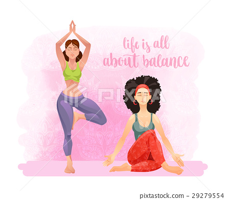 Cartoon Girls In Yoga Poses Stock Illustration 29279554 Pixta