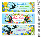 Easter holiday banner with spring flower and bird 29284707