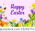 Easter greeting card with egg, cake and flower 29284752
