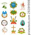 Easter cartoon label and badge set design 29284908