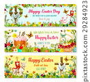 Easter cartoon banner with spring holiday symbols 29284923