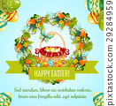 Easter egg hunt basket with flowers greeting card 29284959