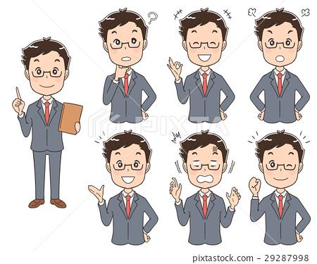 穿著西裝的男人的插圖(設置整個身體) 29287998