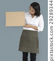 Woman Holding Cork Board Copy Space Concept 29289344