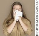 Caucasian Woman Sneezing Crying Tissue 29290427