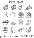 Pizza & Italian foods icon set in thin line style 29291797
