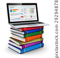 Laptop on stack of color books 29294878