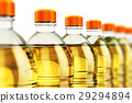 Row of plastic bottles with vegetable cooking oil 29294894