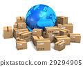 Cardboard boxes and Earth globe 29294905