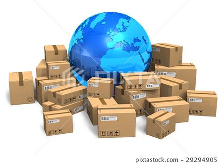 Cardboard boxes and Earth globe 29294905