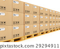 Stacked cardbaord boxes on shipping pallets 29294911