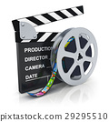 Clapper board and reel with filmstrip 29295510