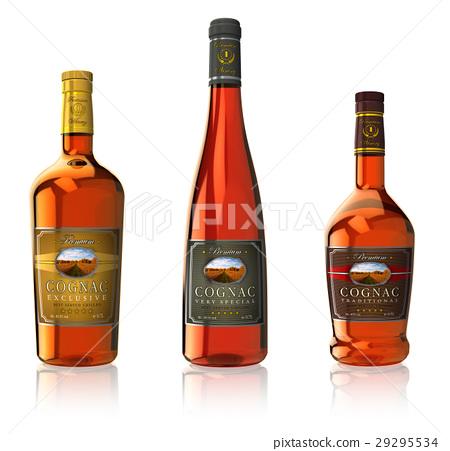 Set of cognac bottles 29295534