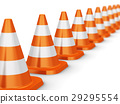 Row of orange traffic cones 29295554