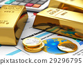 Gold ingots and coins on financial reports 29296795