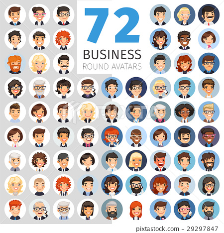 Flat Businessmen Round Avatars Big Collection 29297847