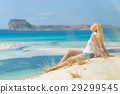 Relaxed Happy Woman Enjoying Sun on Vacations. 29299545