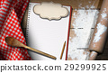 Empty Notebook with Flour and Rolling Pin 29299925