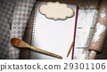 Empty Notebook with Flour and Rolling Pin 29301106
