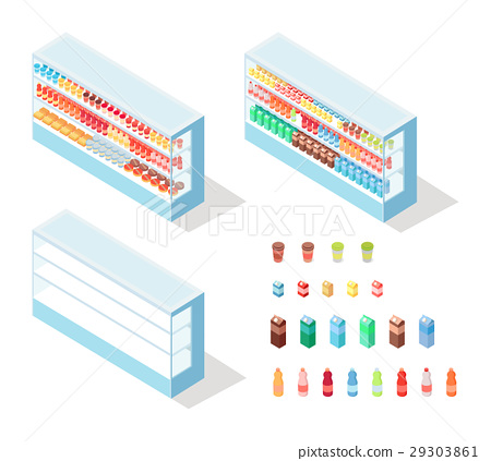 Milky Food in Groceries Showcase Isometric Vector 29303861