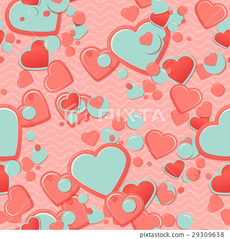 Pink Scrapbook paper, hearts with circles and 29309638