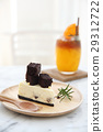 Brownie cheese cake on wood plate 29312722