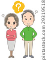 Illustration of a senior male and female with a hatena mark (whole body) 29319518