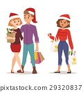 Christmas shopping people vector 29320837