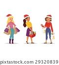 Christmas shopping girl vector 29320839