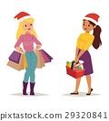 Christmas shopping girl vector 29320841