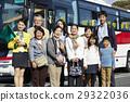 游客 乘公交旅行 线条 29322036