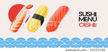 Sushi roll on japanese style background 29324196