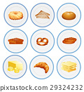 Different types of pastries on the plates 29324232