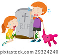Two kids crying at gravestone 29324240