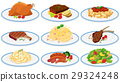 Different types of food on the plates 29324248