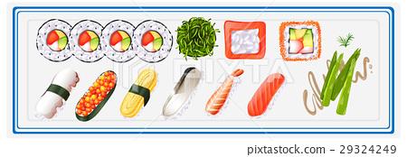 Japanese sushi set on plate 29324249