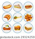 Different types of food on plates 29324250
