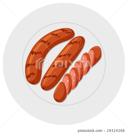 Grilled sausages on round plate 29324266