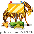 Sign template with two giraffes and birds 29324292