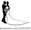 Bride and Groom Flowers Wedding Silhouette 29324297
