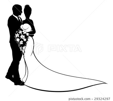 Bride and Groom Flowers Wedding Silhouette 29324297