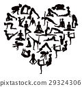 Yoga Poses Silhouettes Heart 29324306