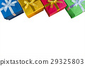 Top view or flat lay of various color gift boxes 29325803