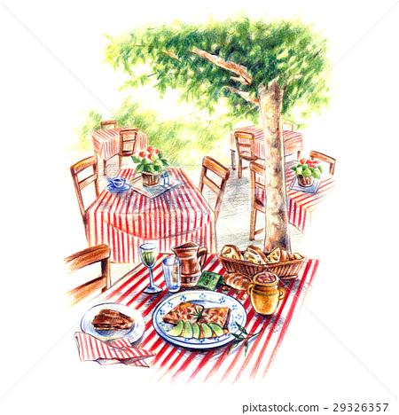 Comfortable garden restaurant 29326357