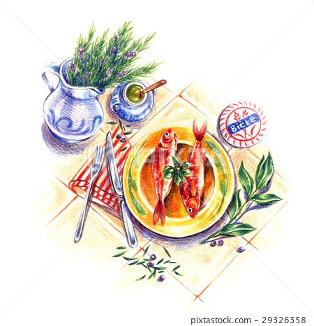 午餐新鮮魚類菜餚 29326358