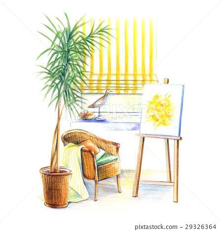Draw a picture with the window of the atelier 29326364