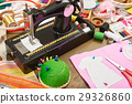 sewing accessories top view, seamstress workplace 29326860