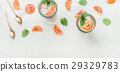 Homemade blood orange lemonade with mint and ice 29329783