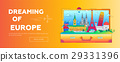 Dreaming of Europe - flat design web banner with 29331396